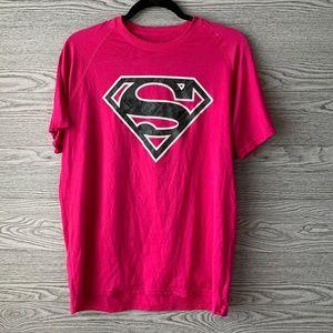 Under Armour Mens Pink & Black Superman Tee